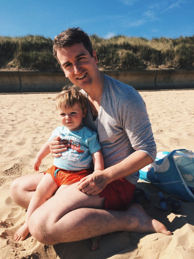 daddy father son baby boy toddler beach sand norfolk love family holiday