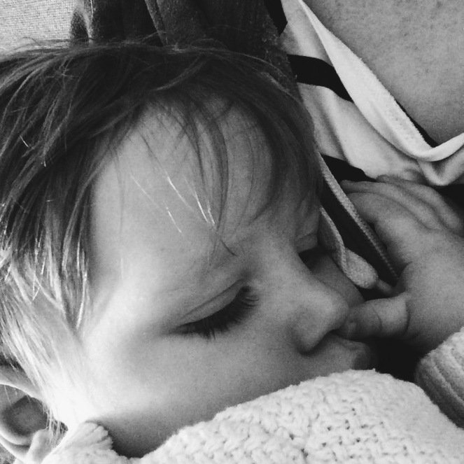 Sleeping toddler poorly sick Monday black white mother son